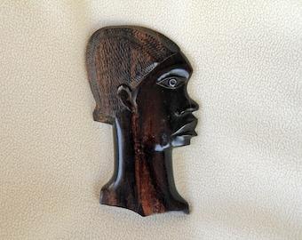 African Wall Art - Head in dark wood