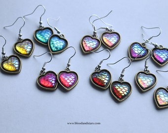Dragon Mermaid Scale Heart Cameo Earrings