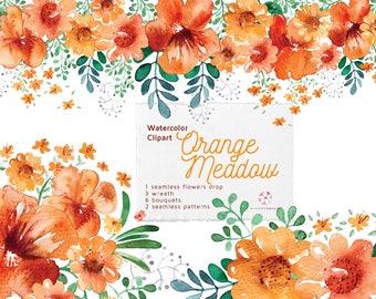 Watercolor Orange Meadow Clip Art