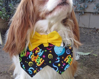 Dog Collar Bow Tie - Happy Birthday