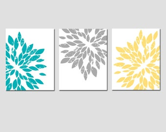 Modern Abstract Painterly Floral Art Trio - Set of Three Large Scale 8x10 Floral Art Prints - Choose Your Colors