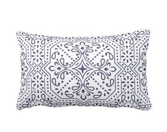 "Tile Print Throw Pillow, Navy/White 14 x 20"" Lumbar OUTDOOR, INDOOR Pillows/Covers, Light/Dusty Blue/White Trellis/Geometric/Batik Pattern"