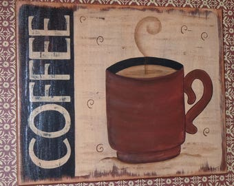 Folk Art Primitive Hand-Painted Wood Coffee Plaque