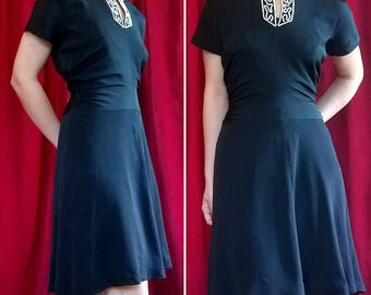 Early 40s Black Rayon Side Ruching Beaded 1940s Dress