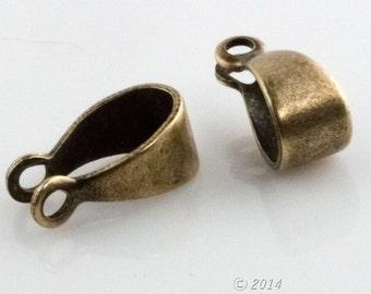 Smooth oxidized brass bail. 11x4mm. Pkg of 6.  B9-2287(e)