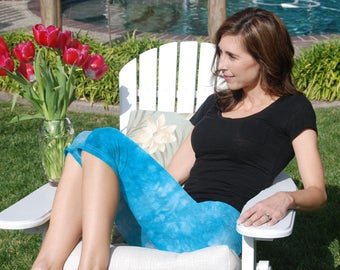 Cosmic Starling Blue Tie Dye Crop Yoga Pants by Splash Dye Activewear (Choose your own length)