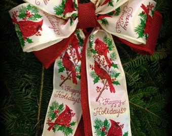 "Merry Cardinal ~ Balsam Fir Wreath Maine Made Fresh ~ Decorated 22"" & 24"""