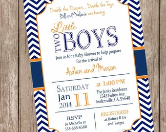 Twin Boys Baby Shower Invitation, Navy and Orange, Chevron Baby Shower Invitation, printable invitation no1 not2
