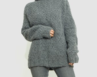 Oversized Sweater knit / Alpaca chunky knit sweater/ womens clothing/ gift warm coat/ custom/ personalized/ by sonqo