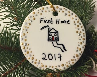 FIRST HOME ORNAMENT, First Home Christmas Tree Ornament, First Home 2017 Ornament First House Ornament Housewarming Ornament First Christmas