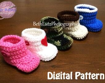 6-12 months Crochet Pattern, Crochet Baby Boots, Booties Pattern, Crochet Booties Pattern, Crochet Baby Booties, Digital Item.
