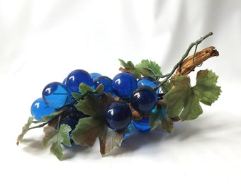 vintage 1960's acrylic grapes cluster lucite blue driftwood mid century modern retro decorative home decor fruit wood stem large 13""