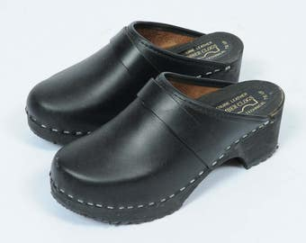Vintage Black Slip On Clogs UK 35