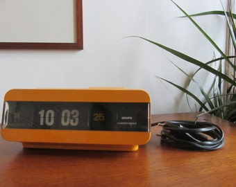 KRUPS - Space Age Flip Alarm Clock Type 625 in Yellow/Orange - Made in West Germany - 1970s