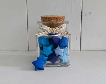 Square Jar of Blue Origami Stars