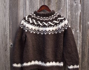 Vintage Brown and Beige Wool Cowichan-like Pullover Sweater - 60s