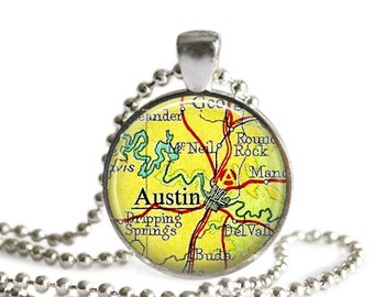 Austin map necklace vintage Texas map pendant bridesmaid gift Dripping Springs Round Rock Buda.