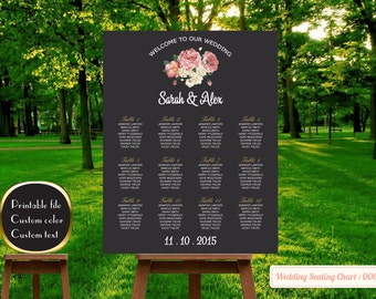 Editable seating chart wedding template| Printable wedding seating chart sign poster template|Table number| Edit by yourself |Find Your Seat