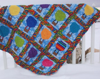 BRIGHT Hot Air Balloon Quilt Kit- Fabric Charms and PDF Pattern via instant download