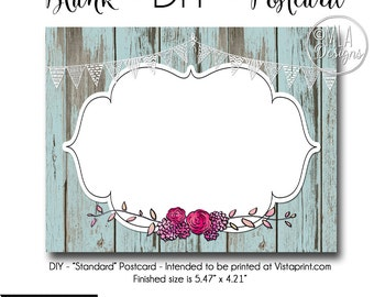 DIY Vistaprint Standard Size Postcard, Trinkets and Lace, Blank Template Instant Download - Notecard Inviation, Stationary, Party Invite