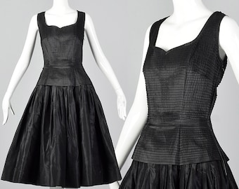 Small 1950s Dress Mollie Parnis Black Party Dress Classic Style Pleated Bodice Sleeveless Evening Wear Party Outfit 50s Vintage