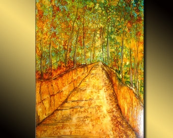 Original Abstract Painting, Modern Landscape Painting, Landscape wall art, Abstract art On Canvas, Village Painting, tree pathway painting