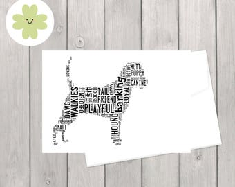 Dog word art card, personalised pet dog card, for her, for him