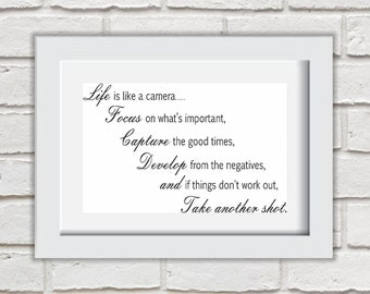 Life Is Like A Camera Framed Quote Print Mounted Word Art Wall Art Decor Typography Inspirational Quote Home Gift
