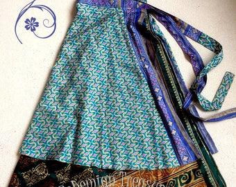bohemian wrapskirt sari fabric very comfortable and light, beautiful prints