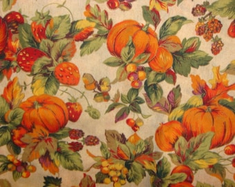 Cranston Pumpkins and Fruit on Beige Cotton Fabric