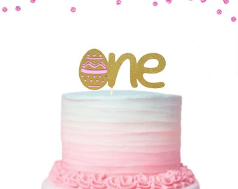 1 pc ONE Easter Egg Gold Glitter Cake Topper for First Birthday Baby Girl Boy