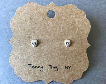 Silver Tiny Mini Skull Stud Earrings Type B - Sterling Silver [SE1045]
