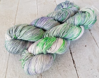 "Hand Dyed Sock Yarn, Superwash Merino - Nylon - Sparkle - Stellina, ""Alpine Meadow"""