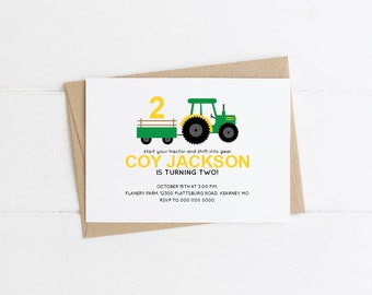 birthday invitation, green yellow tractor, diy editable pdf, printable, instant download