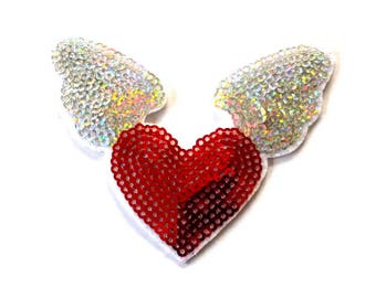 Sequin Wings Iron on Patch, Red Flying Heart Patch, Sequin Wings Patch, Winged Heart Appliqué
