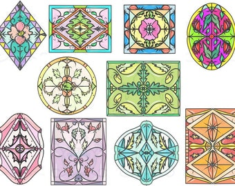 Medallion Digital Clip Art Hand Drawn Instant Download Digital Artwork patterns coloring pages stained glass pink blue green black outlines