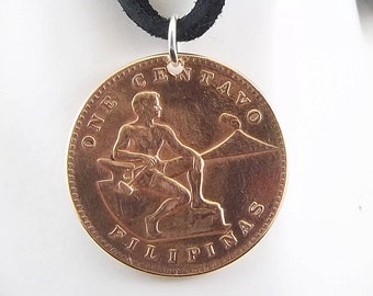 Philippines Coin Necklace, 1 Centavo, Coin Pendant, Leather Cord, Mens Necklace, Womens Necklace, Birth Year, 1944