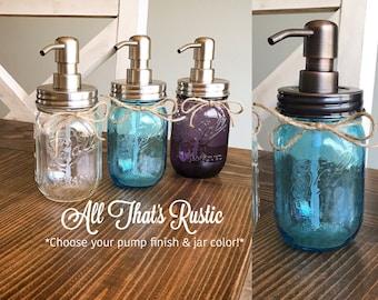 Vintage Mason Jar, distributeur de savon, distributeur de savon bocal, bocal bleu, violet Mason Jar, clair pot Mason, Mason Jar décor, décor rustique