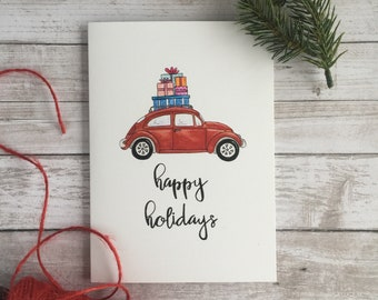 Happy Holidays Christmas Card, VW Bug, Handmade Card