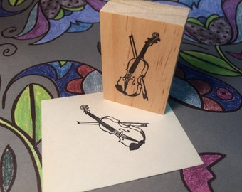 Hand carved rubber stamp - violin design.