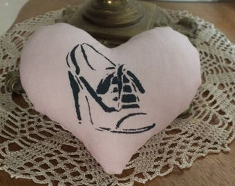 heart fabric with stenciled shoe