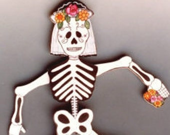 La Calavera Day of the Dead Mexican Folk Art collectible pull puppet jumping Jack articulated skeleton doll  wall art