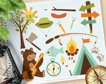 Camping Clipart, Bear in the woods , Fishing,Father's Day, woodland animals, fire safety, Commercial Use, Vector clip art, SVG Cut Files