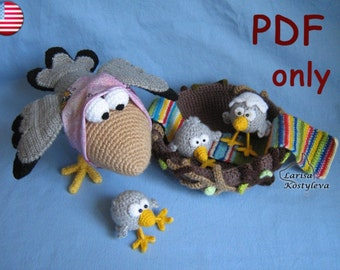Crochet pattern - Happy Family crow with baby crows amigurumi bird animal (English)