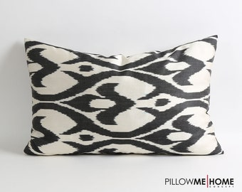 Silk ikat pillow cover - 16x24 inch Double side Handwoven handdyed Black & white fabric tribal decorative silk ikat pillow cover