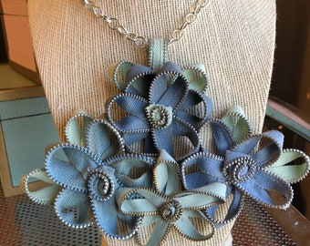 Vintage Blue Zipper Flower Necklace
