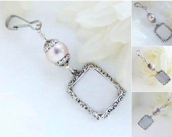 Wedding bouquet memorial charm. Barely purple bridal bouquet photo charm. Wedding charm. Small picture frame Bridal shower gift for a bride.