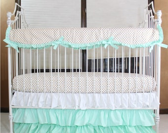 Mint And Gold Dot Ruffle Designer Baby Bedding Crib Set Gold
