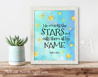 "Printable artwork Bible verse ""He counts the stars and calls them all by name"" Psalm 147:4, digital art print, Instant Download by ArtCult"