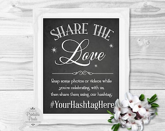 Social Media Chalkboard Printable Wedding Sign, Share The Love, Instagram Hashtag Sign (#SOC1C)
